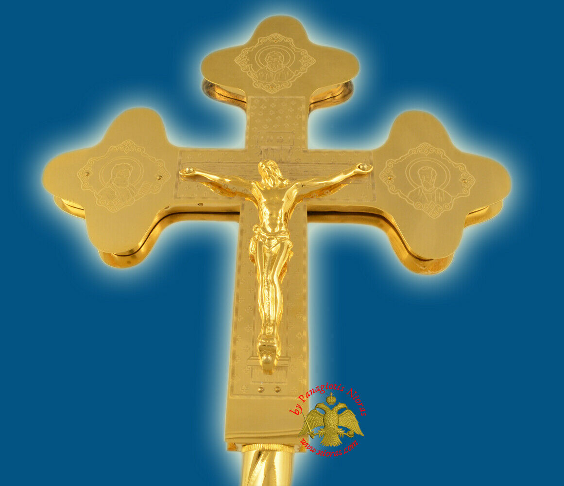 Orthodox Byzantine Processional Cross Gold Plated with 3 Columns Crucifix Church