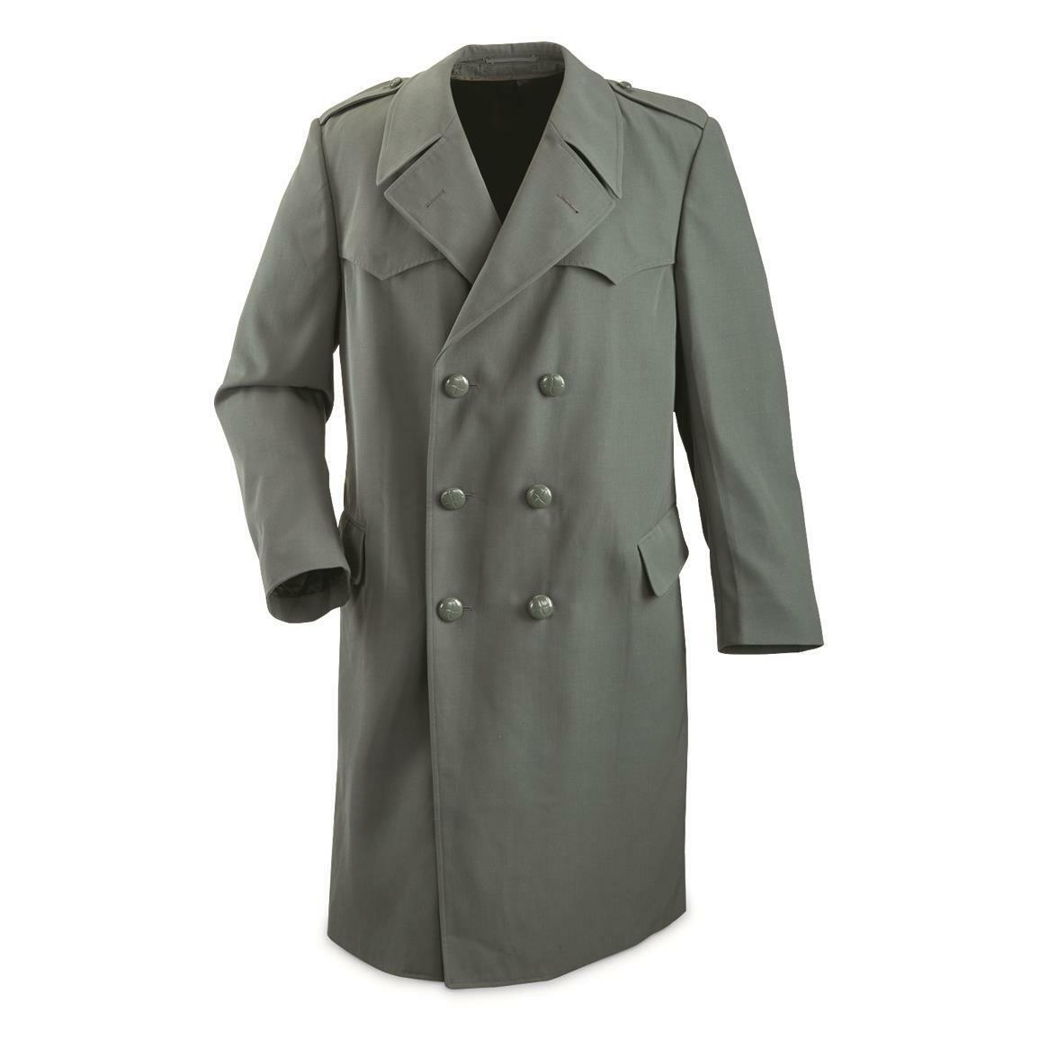 USED Italian Air Force Surplus Double Breasted Trench Coat Large