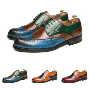 Business-Homme-robe-formelle-Richelieu-a-Chaussures-En-Cuir-Bout-Pointue-Bout-D-039-Aile-Carved