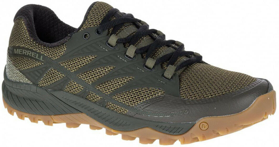 Merrell All Out Charge Mens Cushioned Trail Running schuhe Grün Offroad Trainers