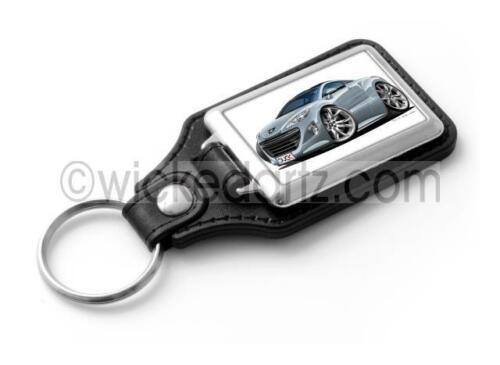 RetroArtz Cartoon Car Peugeot RCZ in Metallic Silver Classic Key Ring