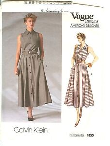 Image Is Loading Oop Vogue Designer Calvin Klein Sewing Pattern 1855