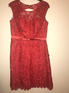 Dress Gina Red Bacconi Dry 14 One Time Worn Condition Great Cleaned Lace Size qtrqxSw6n