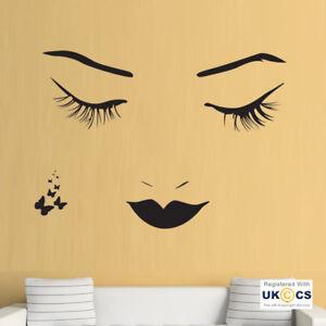 Pegatinas de Pared Salón De Belleza Maquillaje Mascara De Pestañas cara Arte Calcomanía Vinilo habitación  </span>