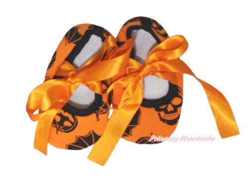 Halloween Pumpkin Skull Bat Orange Ribbon Infant Newborn Baby Crib Shoes NB-18M