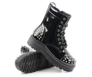 Women Multi Spikes Chunky Studded Chelsea Biker Goth Black Punk Grunge Boots 3-8
