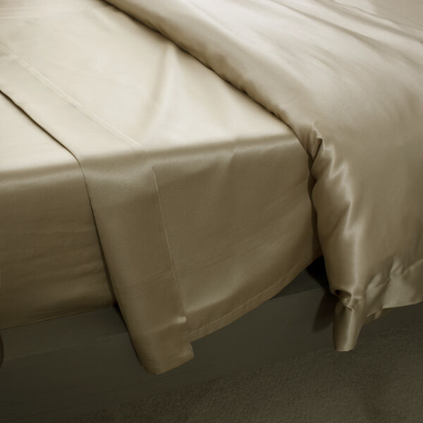Jasmine Silk Pure Silk Flat Sheet (Taupe) - KING SUPERKING