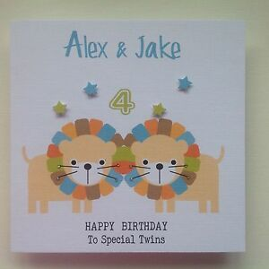 Image Is Loading PERSONALISED Handmade BIRTHDAY Card Animal Lion TWIN BOYS