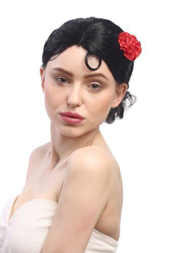 Parrucca Donna Carnevale Nero breve ROSE Spagna Senorita Tango Bolero Carmen