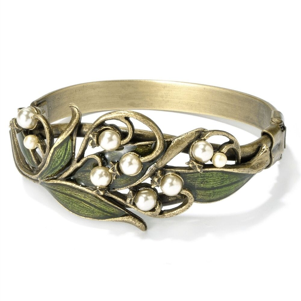 NEW SWEET ROMANCE ART NOUVEAU LILY OF THE VALLEY HINGED CUFF BRACELET USA MADE