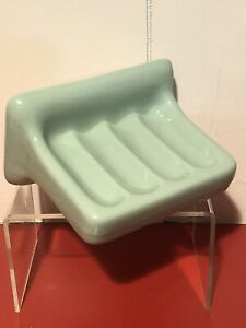 Vintage-NOS-50s-60s-Sage-Mint-Green-Ceramic-Bathroom-Soap-Dish-Wall-Fixture