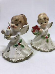 Vintage-NAPCO-Japan-4-034-1956-Ceramic-Bisque-Blonde-Christmas-Angel-Wings