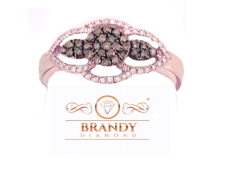 Brandy Diamond® Chocolate Brown 10K pink gold Angel Wings Halo Ring .35 Ct