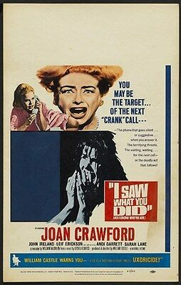 I SAW WHAT YOU DID MOVIE POSTER Joan Crawford VINTAGE