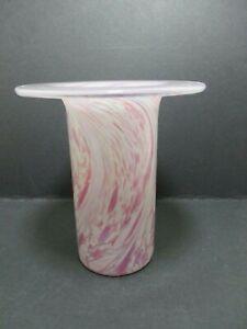 Pink Swirls Possibly Isle Of Wight Studio Art Glass Vase