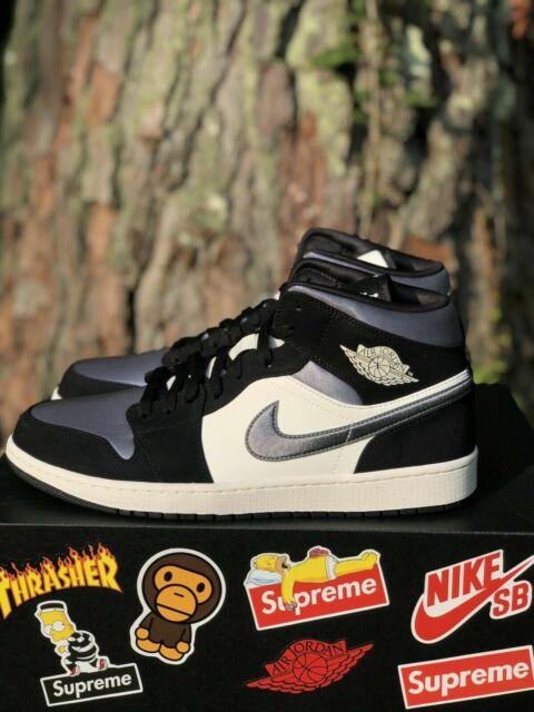 Air Jordan 1 Mid Satin Grey Toe Black/Smoke Grey Sail Men's Size 12 852542-011