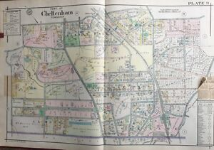 ORIG 1916 A.H. MUELLER MONTGOMERY COUNTY, PA, ST. PAUL'S CHURCH, PLAT ATLAS MAP