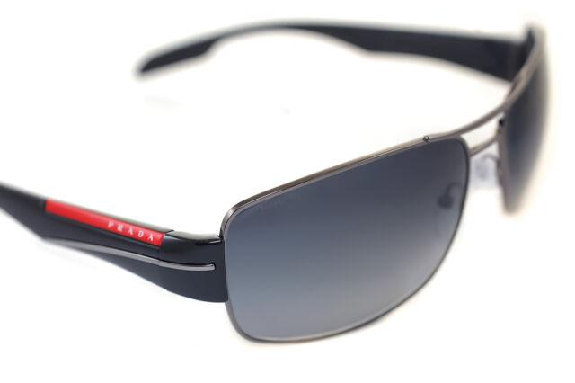 PRADA SPORT 53NS 5AV-5W1 Mens POLARIZED Large Sunglasses GUNMETAL BLACK GREY RED