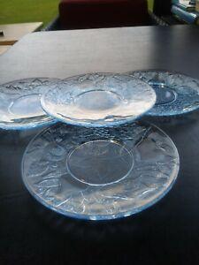 4 Light blue DEPRESSION GLASS PLATE -FRUIT PATTERN 7 ...