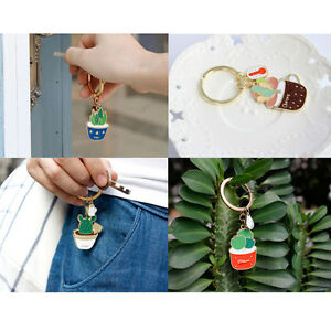 1PC Fashion Enamel Cactus Aloe Potted Bag Car Key Chain Ring Pendant Keychain