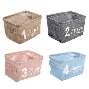 Image Is Loading Cotton Linen Storage Boxes  Basket Holder Cosmetic Stationery
