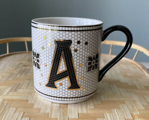 Anthropologie Margot Tile Mug Initial A Monogram White/Black/Gold Coffee Cup