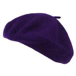 Beret-Artiste-Francais-Couleur-Pleine-Laine-Fille-Hiver-violet-O8X3