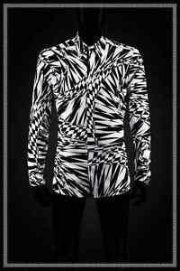 VERSACE-For-H-amp-M-Cotton-Black-White-Graphic-Asymmetric-Printed-Shirt-MEDIUM