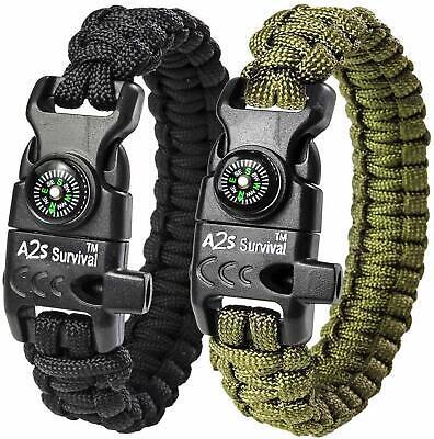 Bracelet Brassard avec brujula Supervivencia Silbato Chispa FUEGO Militar Pack de 2