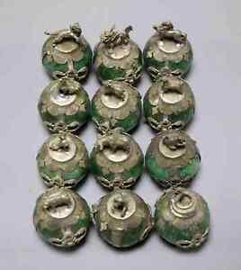 Collect-Antique-Tibet-Silver-Inlay-Agate-Carve-China-12-Zodiac-Auspicious-Statue