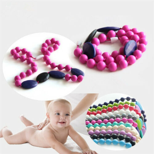 10x Multicolor Silicone Teething Nursing Teether Chewable Beads DIY Necklace S