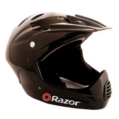 Used Glossy Black Razor Youth Full Face Riding Sport Scooter Helmet