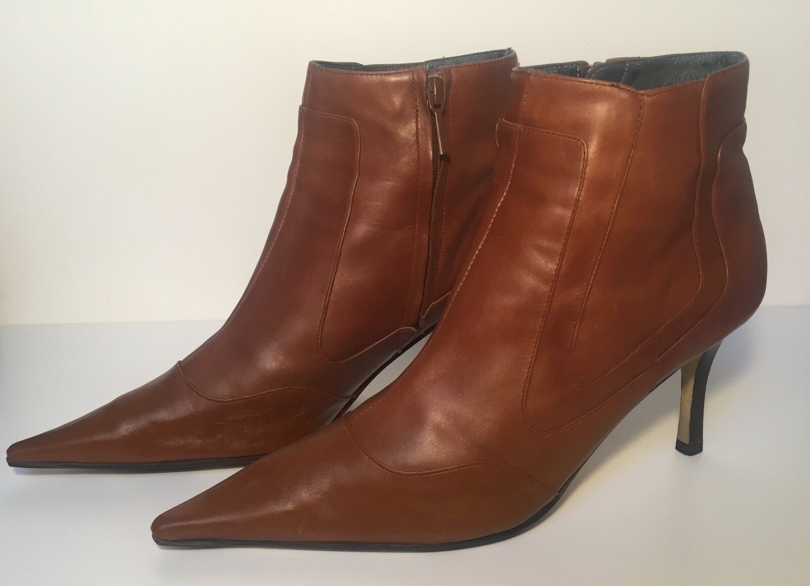 Zara Caramel Leather Booties Size 41(US 10)