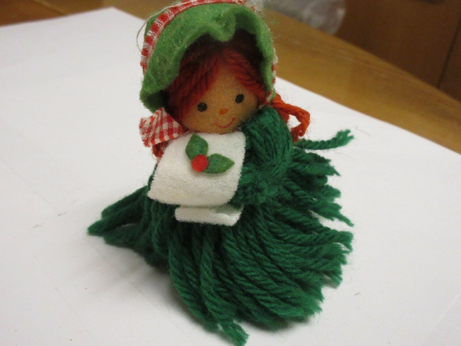"Costume Jewelry , Christmas Green Doll Pin , 4"" X 3"",Vi"
