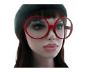 OVERSIZED SUPERLARGE THICK RED FRAME CIRCLE ROUND CLEAR LENS EYE GLASSES NEW