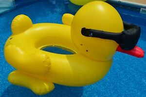 Details about Over 6ft Giant inflatable Rubber Duck with Sunglasses  Swimming Pool Float Ring