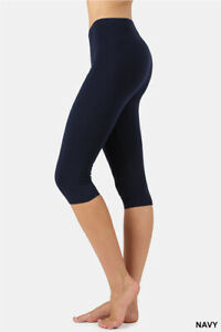 48ff680429 Image is loading Womens-Solid-Capri-Length-Leggings-Cotton-Knee-Soft-