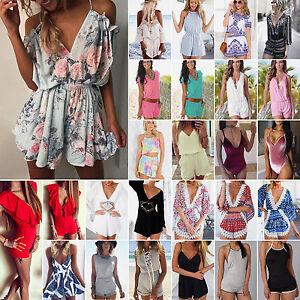 Womens-Holiday-Mini-Playsuit-Casual-Jumpsuit-Summer-Beach-Sundress-Romper-Dress