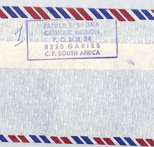 CA77 S.Africa 1980s GARIES CATHOLIC MISSION Cachet Air Cover MISSIONARY VEHICLES