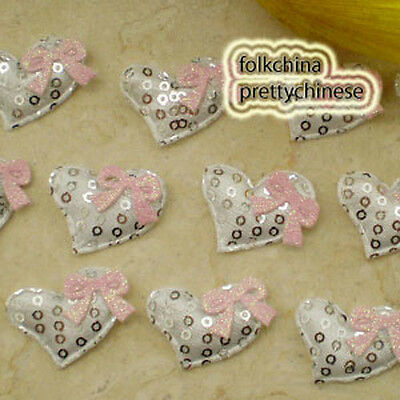White Heart With Bow Sequin Appliques Padded Craft Sewing Scrapbooking Trim APQF