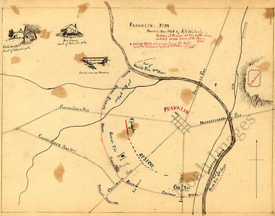 Wartrace /& Normandy TN c1863 repro 18x12 Sketch of the environs of Shelbyville