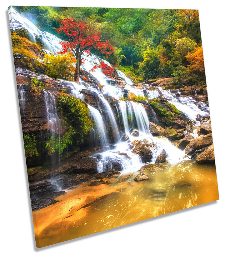 Japanese Waterfall SQUARE BOX FRAMED CANVAS ART Print