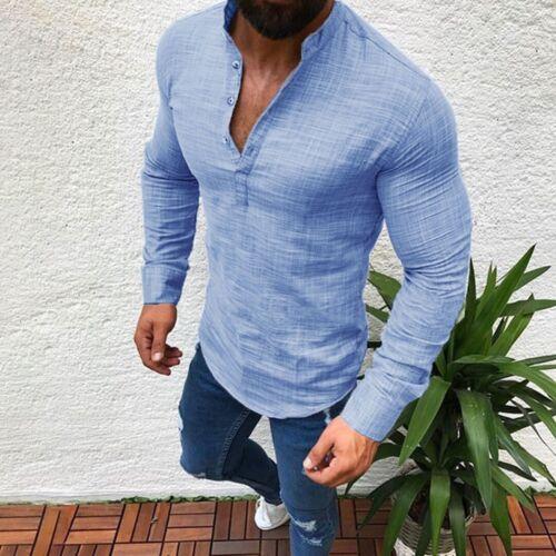 Uomo Casuale Formale Camicie Aderente Maglia a Maniche Lunghe Taglie Forti M-3XL