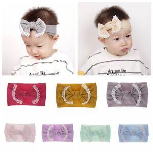 Headwrap-Newborn-Baby-Nylon-Headband-Bowknot-Elastic-Hair-Band-Bows-Turban