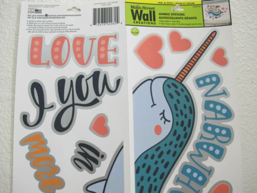 NEW Adorable Cute Love You More Than All Narwhals Peel /& Stick Wall Decals