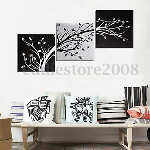 Image Is Loading 3Pcs HD Black White Tree Picture Canvas Painting