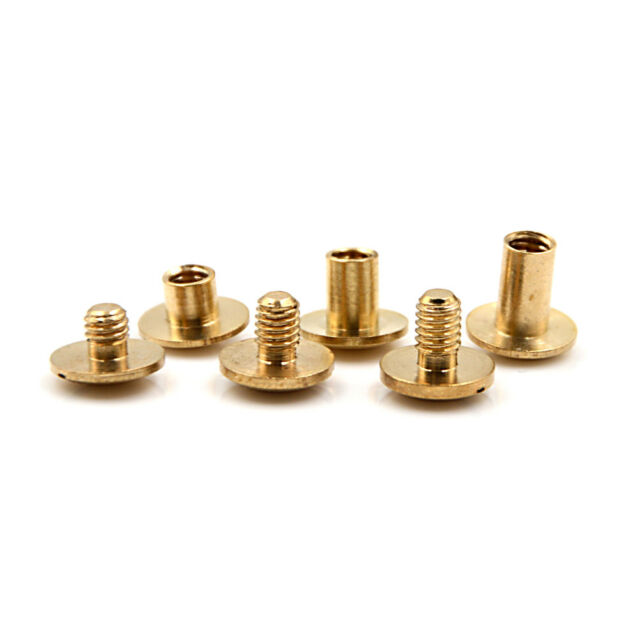 10x Arc Solid Brass Button Stud Screw Nail Screw back Leather Rivet Belt 6mmSND