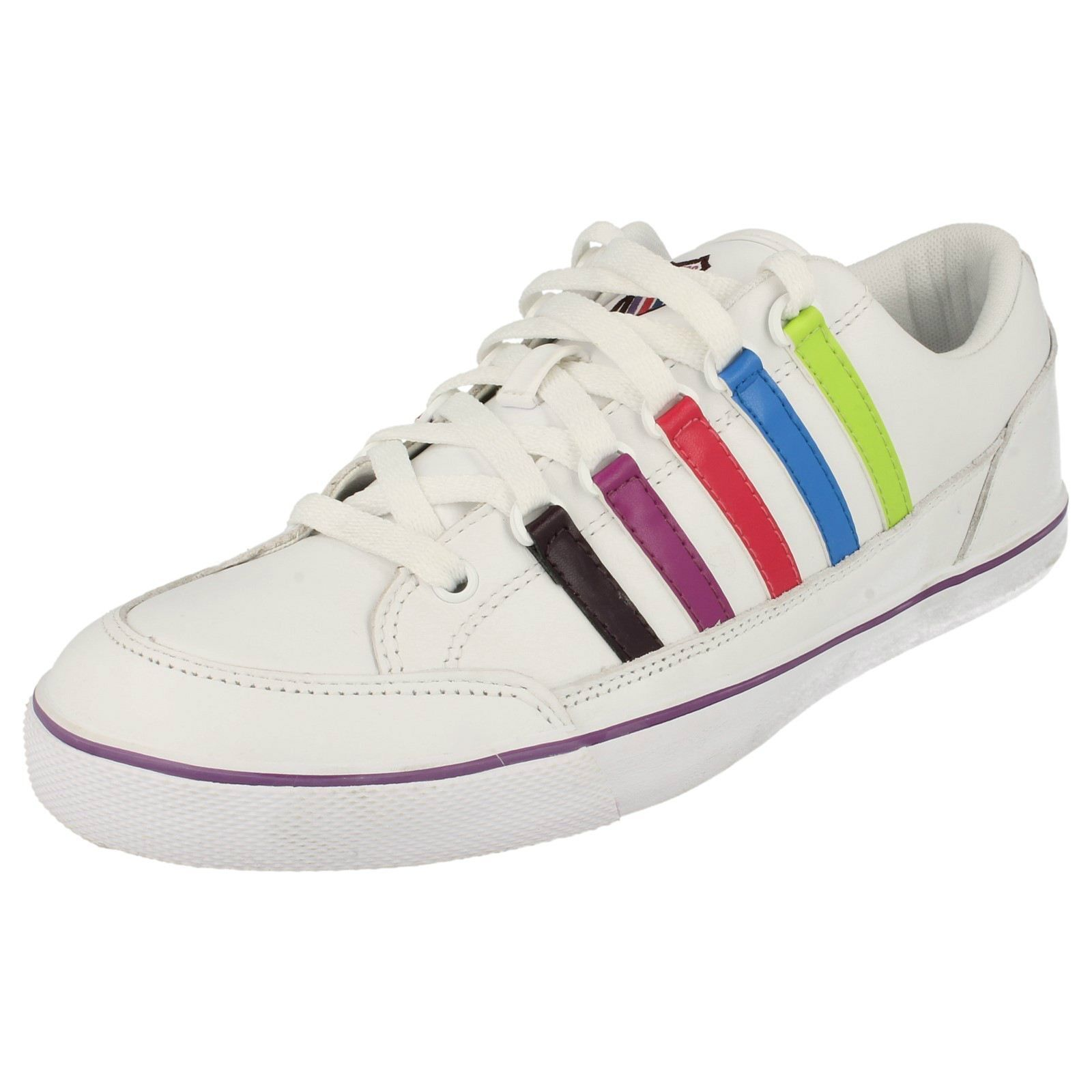 LADIES K-SWISS WHITE TECH MULTI LACE UP TRAINERS SURF AND SAND
