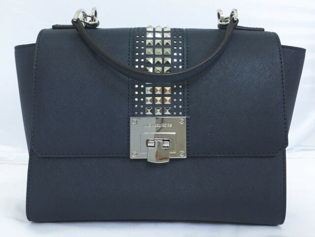 1b0203fa7f49 Michael Kors Tina Gray Leather Silver Studded Chain Satchel Flap Crossbody  Bag