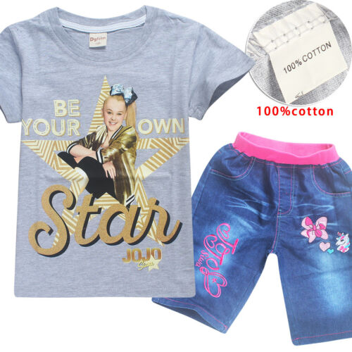JoJo Siwa Kids Baby Girls Short Sleeve T-shirt Tops+Pants Outfits Clothes Set
